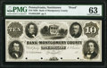 Norristown, PA- Bank of Montgomery County $10 18__ as G38 as Hoober 281-7 Proof PMG Choice Uncirculated 63