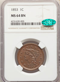 1853 1C N-24, R.2, MS64 Brown NGC. CAC. NGC Census: (239/221). PCGS Population: (3/3). MS64. Mintage 6,641,131. ...(PCGS...