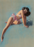 Paintings, Rolf Armstrong (American, 1889-1960). See You Soon, 1947. Pastel on board. 39 x 27-1/2 inches (99.1 x 69.9 cm). Signed c...