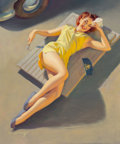 Paintings, William Medcalf (American, 1920-2005). Permite Girl on Car Creeper. Oil on canvas. 30 x 25 inches (76.2 x 63.5 cm). Sign...