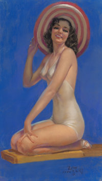 Zoe Mozert (American, 1907-1993) Woman on Diving Board Pastel on board 27 x 15-1/2 inches (68.6 x