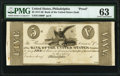 Philadelphia, PA- Bank of the United States (Second) $5 18__ G1090 Hoober UNL Proof PMG Choice Uncirculated 63