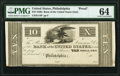 Philadelphia, PA- Bank of the United States (Second) $10 18__ G14 as Hoober 305-147 Proof PMG Choice Uncirculated 64...