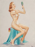 Works on Paper, Pearl Aleryn Frush (American, 20th Century). Girl with Mirror. Gouache on board. 17-1/2 x 13 inches (44.5 x 33.0 cm). Si...