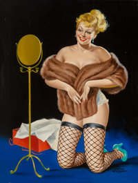 Peter Driben (American, 1902-1968) Miss Sweater Oil on board 33 x 25 inches (83.8 x 63.5 cm) S