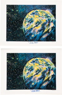 Buzz Aldrin Signed Space-Related Limited Edition Art Prints (Two) by Delmas, #113/450 & 116/450, Originally from His...