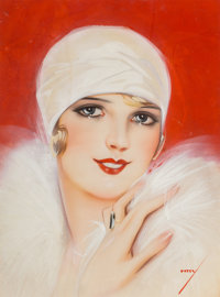 George Petty (American, 1894-1975) Deco Beauty, Marshall Field catalog cover Gouache on board 16 x 12 inches (40.6 x