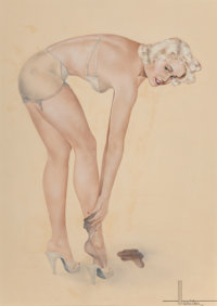 Hamilton (American, 20th Century) Blonde Putting on Stockings Watercolor on board 19-1/2 x 13-1/2