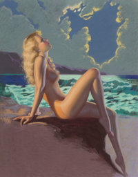 Earl Moran (American, 1893-1984) Eve-N-Tide Pastel on board 45 x 34-1/2 inches (114.3 x 87.6 cm)<