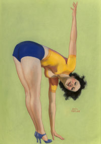 Earl Moran (American, 1893-1984) Keeping in Shape Pastel on board 43-1/2 x 29 inches (110.5 x 73.7 cm) Signed lower