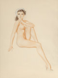 Works on Paper, Alberto Vargas (Peruvian/American, 1896-1982). Brunette with Blue Flowers study. Watercolor on vellum. 27 x 20 inches (6...
