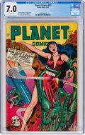Golden Age (1938-1955):Science Fiction, Planet Comics #51 (Fiction House, 1947) CGC FN/VF 7.0 Off-white pages....
