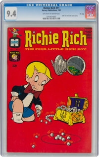 Richie Rich #11 File Copy (Harvey, 1962) CGC NM 9.4 Off-white to white pages
