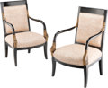 Furniture, Two English Regency-Style Ebonized and Giltwood Armchairs, 20th century . 37-1/2 x 23-5/8 x 20-1/8 inches (95.3 x 60.0 x 51.... (Total: 2 Items)