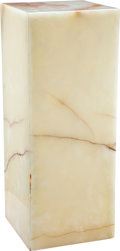 Carvings, A White and Brown Marble Pedestal, 20th century. 36 x 14 inches (91.4 x 35.6 cm). ...