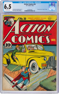 Action Comics #30 (DC, 1940) CGC FN+ 6.5 Off-white pages