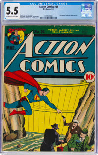 Action Comics #34 (DC, 1941) CGC FN- 5.5 Off-white to white pages