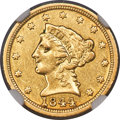 1844-C $2 1/2 XF45 NGC. Variety 1. A collectible Choice XF example of this challenging Charlotte issue, showing bright b...