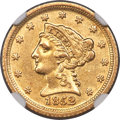 1852-D $2 1/2 AU55 NGC. Variety 16-N. Only one variety of the 1852-D quarter eagle is recorded, showing minute repunchin...