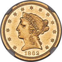 1862 $2 1/2 MS61 NGC. A conditionally scarce Mint State example of this lower-mintage Philadelphia issue (98,508 pieces...