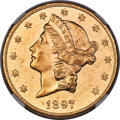 1897 $20 MS62 Prooflike NGC. Bright yellow-gold coloration complements the reflectivity of the fields on this Mint State...