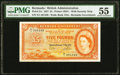 World Currency, Bermuda Bermuda Government 5 Pounds 1.5.1957 Pick 21c PMG About Uncirculated 55.. ...