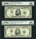 Fr. 1969-L* $5 1969 Federal Reserve Note. PMG Gem Uncirculated 66 EPQ; Fr. 1970-B* $5 1969A Federal Reserve Note. PMG Ch...