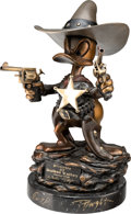 "Animation Art:Maquette, ""Sheriff of Bullet Valley"" Donald Duck Limited Edition Bronze Statue #181/200 (Walt Disney, 1995)...."