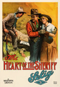 """Movie Posters:Western, The Heart of the Sheriff (Selig, 1915). Fine/Very Fine on Linen. One Sheet (28"""" X 41"""").. ..."""