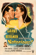 "Movie Posters:Hitchcock, Notorious (RKO, 1946). Very Fine- on Linen. One Sheet (27"" X 41"").. ..."