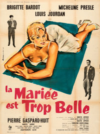 """The Bride is Much Too Beautiful (Pathe Consortium Cinema, 1956). Folded, Fine/Very Fine. French Grande (47"""" X 63&qu..."""