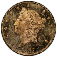 1877 $20 MS61 Prooflike PCGS. PCGS Population: (6/0 and 0/0+). NGC Census: (10/0 and 0/0+). MS61. Mintage 397,670