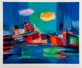 Prints & Multiples, Marcel Mouly (French, 1918-2008). Chalutiers dans le port II, late 20th century. Lithograph in colors ...
