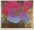 Prints & Multiples, Guillaume Azoulay (Moroccan, b. 1949). Illustrated Horse, 2006. Serigraph in colors with gold leaf on ...