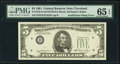 Insufficient Inking of Green Portion of Third Printing Error Fr. 1976-D $5 1981 Federal Reserve Note. PMG Gem Uncirculat...