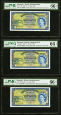 World Currency, Bermuda Bermuda Government 1 Pound 1.10.1966 Pick 20d Three Consecutive Examples PMG Gem Uncirculated 66 EPQ (3).. ... (Total: 3 notes)