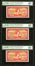 World Currency, Bermuda Bermuda Government 10 Shillings 1.5.1957 Pick 19b Three Consecutive Examples PMG Superb Gem Unc 67 EPQ (3).. ... (Total: 3 notes)