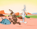 Animation Art:Production Cel, Operation: Rabbit Wile E. Coyote and Bugs Bunny Production Cel Setup with Painted Background (Warner Brothers, 1952)....