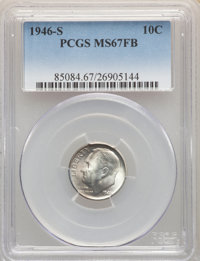 1946-S 10C MS67 Full Bands PCGS. PCGS Population: (230/17). NGC Census: (245/6). CDN: $100 Whsle. Bid for NGC/PCGS MS67...