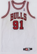 Basketball Collectibles:Uniforms, 1997-98 Dennis Rodman Game Worn Chicago Bulls Jersey with Unique Provenance....