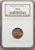 1858 1C Small Letters MS65 NGC.(PCGS# 2020)