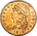 Early Half Eagles, 1810 $5 Small Date, Small 5, BD-2, R.6, MS62 PCGS. CAC....
