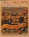 """Movie Posters:Western, She Wore a Yellow Ribbon (RKO, 1949). Fine-. Trimmed Window Card (14"""" X 18""""). Western.. ..."""