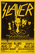 Music Memorabilia:Posters, Slayer / Possessed Portland and Seattle Concert Poster (1985)....