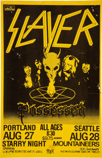 Slayer / Possessed Portland and Seattle Concert Poster (1985)