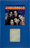 Music Memorabilia:Autographs and Signed Items, The Moonglows Signed Paper Matted With a Promo Picture....