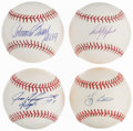 Autographs:Baseballs, Baseball Legends Single Signed Baseballs, Lot of 4.