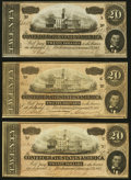 Confederate Notes:1864 Issues, T67 $20 1864 Three Examples Very Fine to About Uncirculated.. ... (Total: 3 notes)