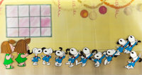 Peanuts The Charlie Brown and Snoopy Show Snoopy and Peppermint Patty Sequence of 12 Production Cels and Group of ... (T...