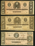 Confederate Notes:1864 Issues, T70 $2 1864 Very Fine;. T71 $1 1864 Two Examples Fine-Very Fine or Better.. ... (Total: 3 notes)
